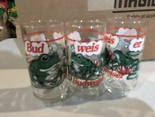 3-Budweiser 1996 Bud Pint Frogs Glass Commercial Bud weis er Superbowl Advertise