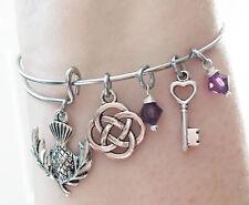 Outlander Scottish Thistle Scotland Celtic Knot Key Silver Bangle Bracelet