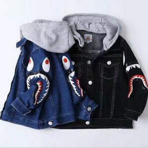 2022 Kids Boy Girl Blue Shark Jean Jacket Winter Sweatshirts Hoodies Cool Coat