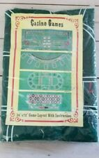 """Casino Games 36"""" x 72"""" Baccarat Game Layout with Instruction Green Felt Unopened"""