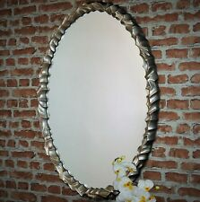 Contemporary Anjelic Antiqued Gold Oval Mirror Landscape / Portrait Wall Hanging