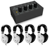 Behringer HA400 4-Channel Stereo Headphone Amplifier Amp + 4X HPM1000 Headphones