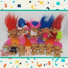 Vintage 1980's 90's Troll Doll Lot Russ Clothes Ace Novelty Treasure Wishnik Dam