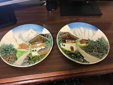 "2 Vintage Majolica West German 9"" Decorative Plates Alpine Mountain Scenery"