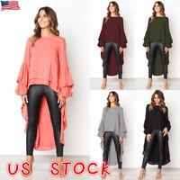 Womens Puff Sleeve Baggy Asymmetric Chiffon Long Tops Blouse Ladies Shirts PLUS