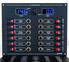 12 Way Circuit Breaker & Switch Panel Digital Volts & Ammeter (Blue)