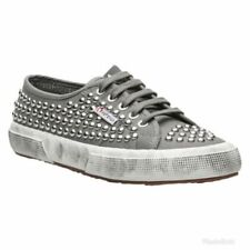 Superga Gray Studded Distressed Canvas Sneakers Size 5.5 Women's