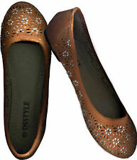 NWOB,CRYSTAL STUDDED CLASSIC BURNT SIENNA CLOSE TOE SUEDE FLAT SHOES_S37 / 38