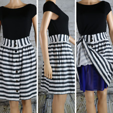 ANDREW MARC Dress Fit & Flare Contrast fabric Black white skirt/top 10