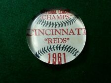 Vintage Style 1961 Cincinnati Reds Champs Glass Paperweight.By Artist