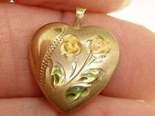 Filled Enamel Floral Locket! Lovely Vintage 14K Gold
