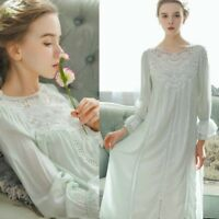 Womens Victorian Retro Nightdress Lolita Cotton Nightgown Sleepwear Guipure Lace