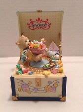RARE Enesco Teddy Bear Toy Chest Multi-Action Music Box