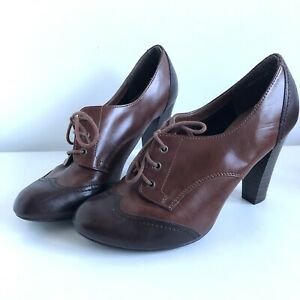 """New Look Two Tone Brown Lace Up Brogues High 4"""" Heel Shoes Size UK 8 Retro Style"""
