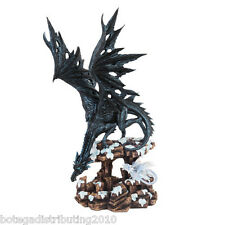 """LARGE 18 1/2"""" BLACK DRAGON STATUE PROTECTING YOUNG FIGURINE"""