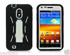 Sprint Samsung Galaxy S II 2 D710 R760 Hybrid Case Skin Cover w/Stand Black Wht