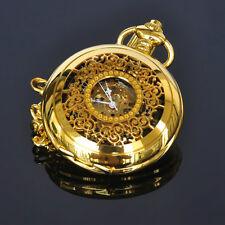 Dress Gold Color Analog Black Face Mechanical Skeleton For Mens Pocket Watch