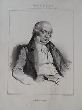 Portrait P-J de BERANGER CHANSONNIER BONAPARTISME MUSIQUE ROMANTISME XIX 1840