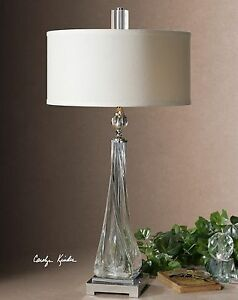 """MODERN XXL 32"""" THICK TWISTED GLASS NICKEL METAL TABLE LAMP CRYSTAL DETAIL"""