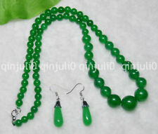 """6-14mm Natural Green Jade Round Gems Beads Necklace 18"""" Earrings Set JN614"""
