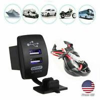 UTV ATV Car Charger Dual USB Socket Switch Outlet LED 12V 24V For Boat Truck
