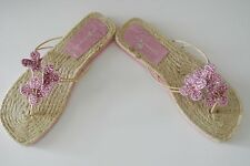Pink Glittered Floral Embellished SAM & LIBBY Thongs,Most likely US 5, 9-in long