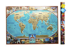 Large Deluxe Gold World Map Scratch off map travel map push pin map Travel Gift