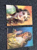 "Vintage Lot Of 2 Art Deco Pin Up Art Prints 10""x7.5"""