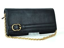 Auth Gucci Black Leather Long Wallet Hand Bag Purse W/ Gold Chain Strap Italy