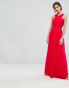 LITTLE MISTRESS RED EMBELLISHED MAXI DRESS SIZE 16