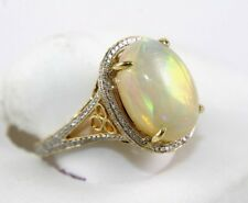 Oval Fire Opal Solitaire Ring w/Diamond Halo & Accents 14k Yellow Gold 6.96Ct
