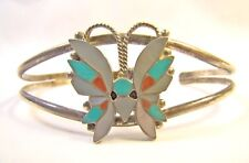 Signed R. Wallace Zuni Native American Sterling Silver Butterfly Cuff Bracelet