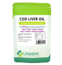 Lindens Cod Liver Oil 1000mg 2-PACK 180 Capsules with Vitamin A & D Best Quality