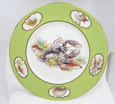 Vtg Lobster Prawns Seashells Green & Gold Trim Plate Wall Hanger Signed Graziano