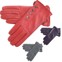 Ladies Super Soft Genuine Leather Fleece Lined Casual Driving Gloves Red Grey