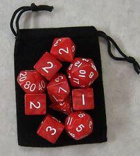 Volcanic Red RPG D&D Dice Set: 7 + 3d6 = 10 polyhedral die plus bag!