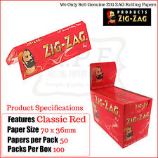 Zig Zag Red Regular/Standard Size Cigarette Rolling Papers - One Full New Box