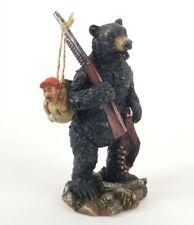 "Black Bear Figurine Hunting Human Hunter Resin 7.5"" New Cottage Country Decor"