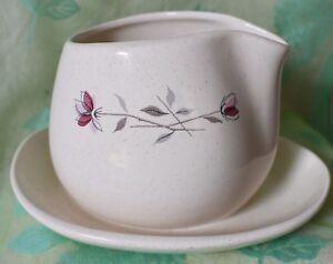 "Gravy Boat Fransiscan ""Duet"" Earthenware  Pink flowers Grey stems 1 piece"