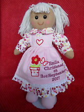 Personalised Rag Doll Christening Baptism holy Communion Dedication flower  Gift