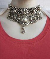 Statement Goth Choker Collar Necklace Vintage Gypsy Boho Tribal Fashion Jewelry