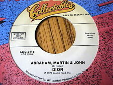 """DION - ABRAHAM, MARTIN & JOHN / FROM BOTH SIDES NOW  7"""" VINYL"""