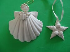 "Vintage 1991 (3"") Margaret Furlong Bisque Sea Shell Angel & Star"