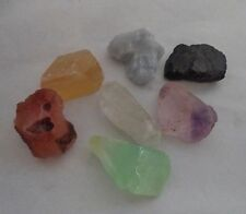 CHAKRA KIT: 7 Rough Natural Stones Set & Instructions & Pouch (Crystal Healing)