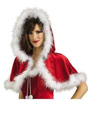 Miss Santa Claus Red Velvet Caplet With Hood Christmas Fashion Caplet/Cape