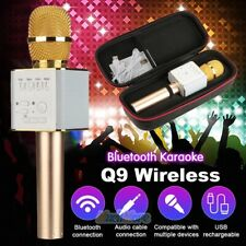 3 In 1 Wireless Q9 Bluetooth Karaoke Microphone USB Speaker Mini Home KTV Gold