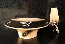 x2 BAATZ Ceramic Artist Lot Signed Floral Vase Display Cake Flowers Dish USA Art