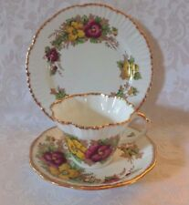 "Salisbury ""Pansy"" 3 Piece Floral Set Teacup Saucer and Plate   England"