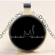 Cat is my Heartbeat Photo Cabochon Glass Tibet Silver Chain Pendant Necklace