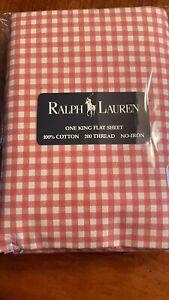 NEW Ralph Lauren Medium Pink Gingham King Flat Sheet Cynthia Garden Rambler Gwen